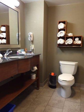 Hampton Inn & Suites by Hilton Brantford, Ontario: Lots of towels, small towel bar