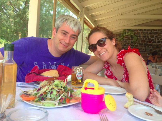 Taverna Beach Bar Galini: galini salad and us