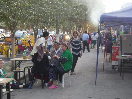 Turpan, China: Night Market (food stalls) outside Bazaar