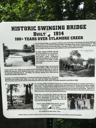 Mountain View, AR: Historic sign posted on the south end of the bridge.