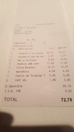 Llivia, Spain: Cuenta de una buena comida para 2.