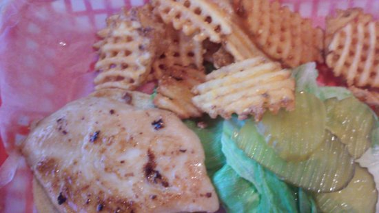 North Webster, IN: Grilled chicken and waffle fries