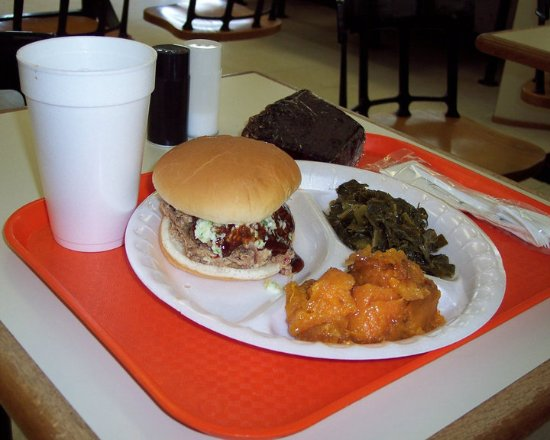 Backyard BBQ Pit: Pulled pork, collards, sweet potatoes, devils food cake, sweet tea.