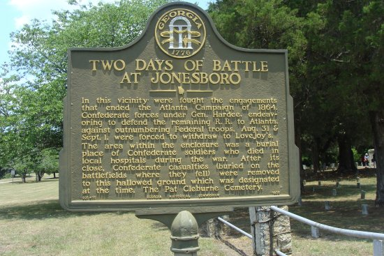 Battle of Jonesboro sign at cemetery
