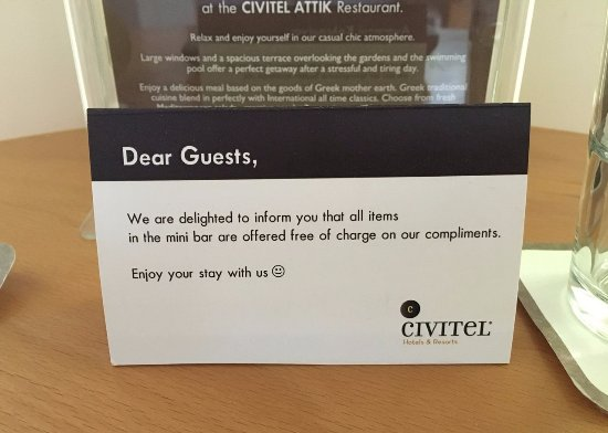 Free Minibar Picture Of Civitel Attik Rooms