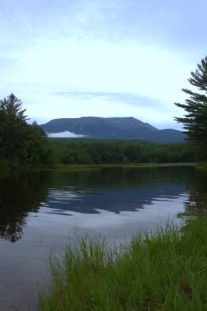 The Forks, ME: View of Mt Katahdin, from my camp site