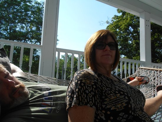 Canaan, CT: On the veranda in the hammock, soaking up the breeze and enjoying the sun.