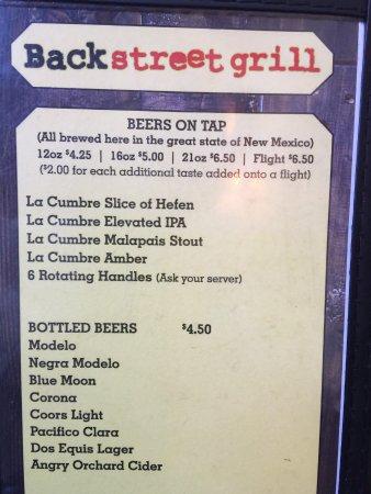 Back Street Grill Beer Menu