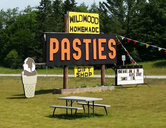 Wildwood Pasties Sign on US 2 at the border of Moran and Brevort