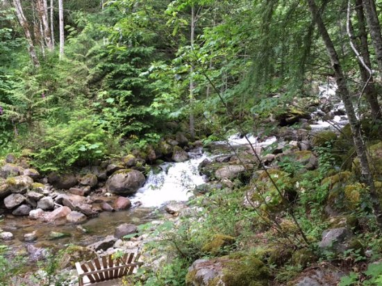 Stormking Spa at Mt. Rainier: Goat creek runs on the side of the property