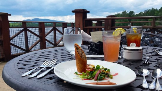 Dining on the deck at St. Regis Cafe, Paul Smiths College, NY.