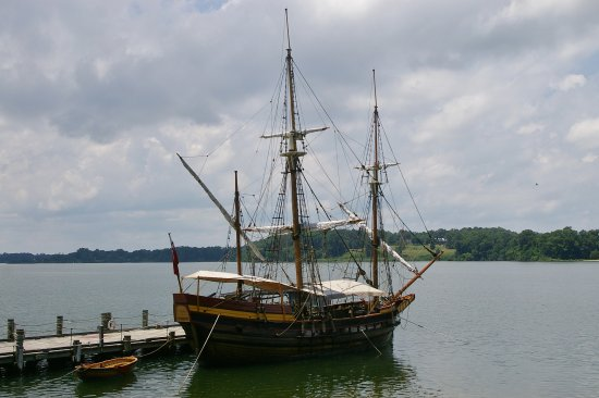 Saint Mary's City, MD: Replica of The Dove used by the early settlers to ply the waters of the Chesapeake.