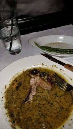 "Terrytown, LA: The ""after"" Bone in Veal porterhouse with mushroom bordelaise."