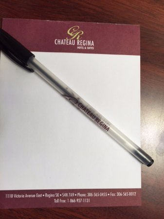 Complimentary pen ad note paper, Chateau Regina Hotel & Suites