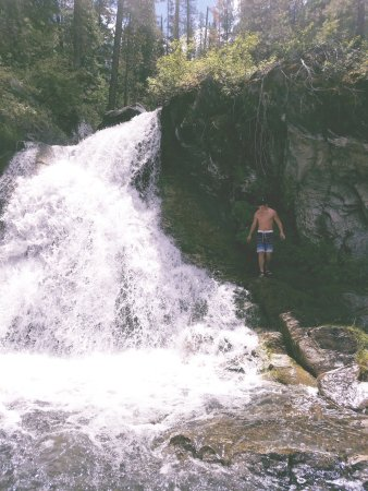 The Paulina Plunge: The stop where we could swim & climb around