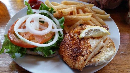 Crab Cracker Seafood Bar: The Halibut sandwich with blackened seasoning.