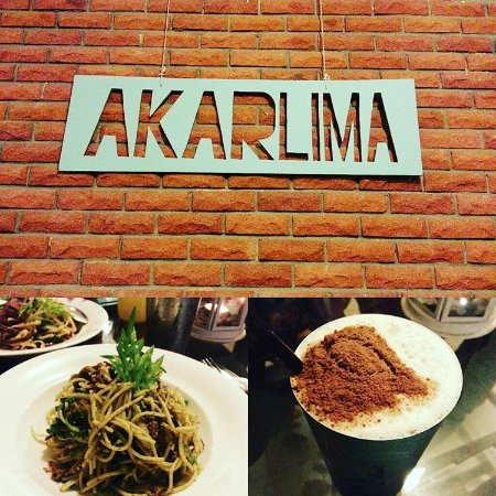 Kulim, Μαλαισία: Herb Ulam Raja Pesto pasta and Milo milkshake at Akar Lima.