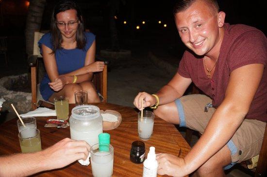 Jacaranda Beach Resort: Drinking coco wine