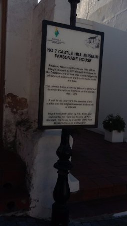 No 7 Castle Hill Museum: Signage outside the museum explaining, in brief, the history of the building.