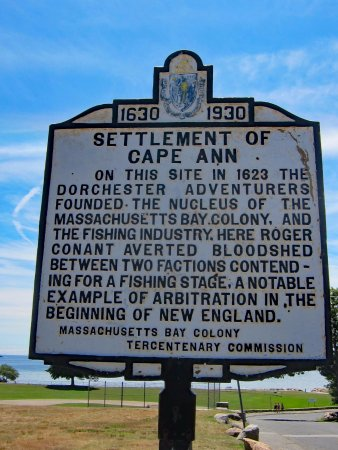 Stage Fort Park and Beach: Settlement of Cape Ann historical plaque