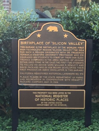 """Hewlett Packard Garage: Birthplace of """"Silcon Valley"""" plaque"""