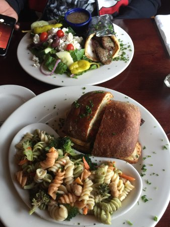 Waterford, CT: Marias special sandwich with pasta salas and a gyro with greek salad