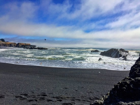 Shelter Cove, CA: black sands beach. big waves, little caves,  and a lot of beauty.
