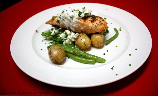 Del Mar, CA: Salmon with cucumber dill sauce