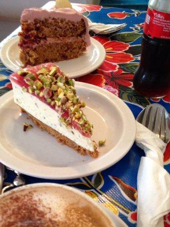 Narberth, UK: Beetroot cake & Pistachio Cheesecake