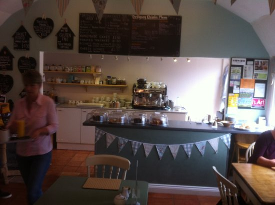 Bromyard, UK: View of counter and cakes.