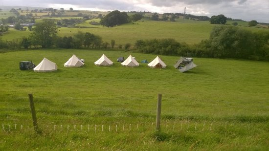 Corwen, UK: Camp site viewed from work area at top of hill fort.