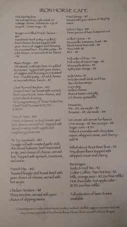 Three Forks, MT: Lunch Menu