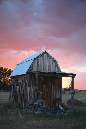 Ten Sleep, WY: The Tack shed at sunset