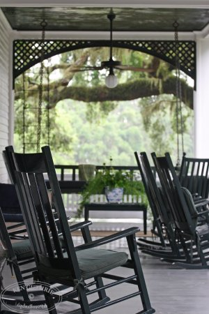 Greyfield Inn: Veranda on front of inn with rocking chairs and porch swing.