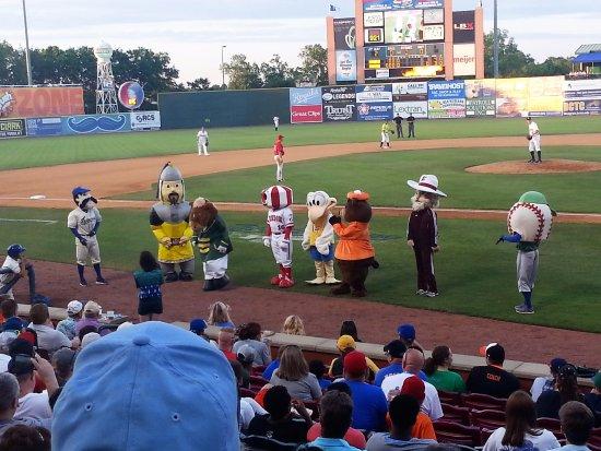 Whitaker Bank Ballpark: Mascots at the ballpark.