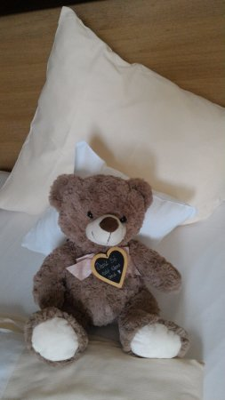 Landhotel & Weingasthof Schwarzer Adler: Teddy Bear on the bed