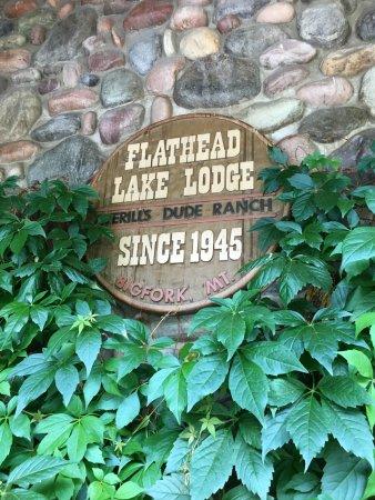 Averill's Flathead Lake Lodge: Sign outside the main lodge.