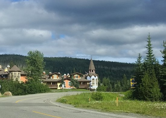 View of Crystal Forest complex from the road to the village