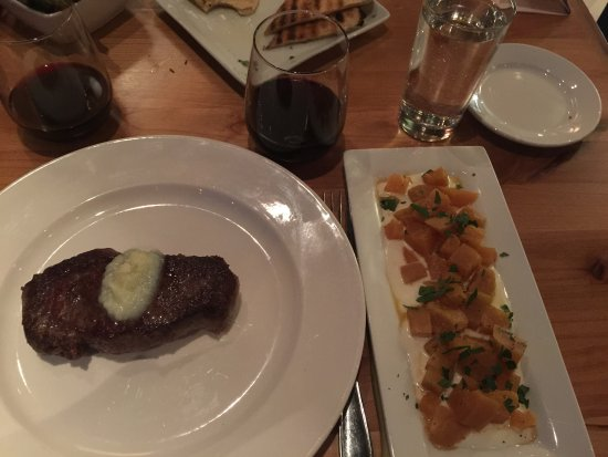 Tinderbox Kitchen: Bison ribeye with compound butter, side of beets with creme fraiche.