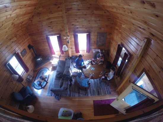 Cloud-Splitter Outfitters: Taken with a GoPro from the master bedroom/loft area. Looking down on the living/dining area