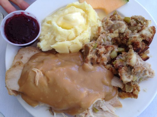 Thousand Island Park, NY: Roasted turkey with mashed potatoes and stuffing
