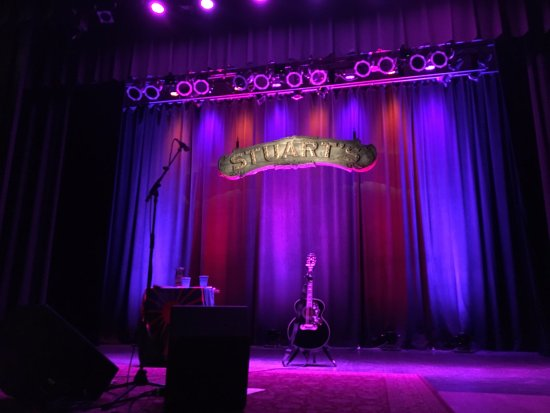 Stuart's Opera House: Stage at Stuart's and Todd Snider's highly complicated gear.