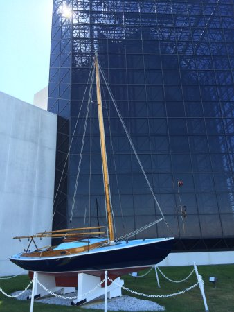 John F. Kennedy Presidential Museum & Library : JFK's Victura Sailboat.  A man may die, nations may rise and fall, but an idea lives on.