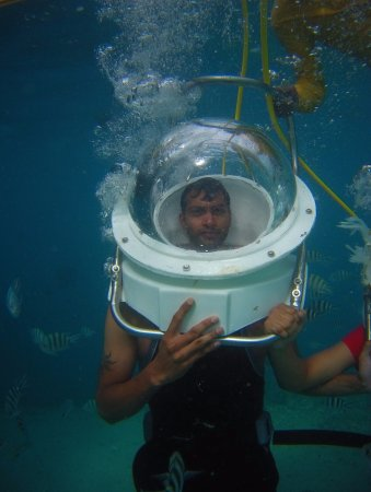 Under water SeaWalk in Ile aux Cerfs