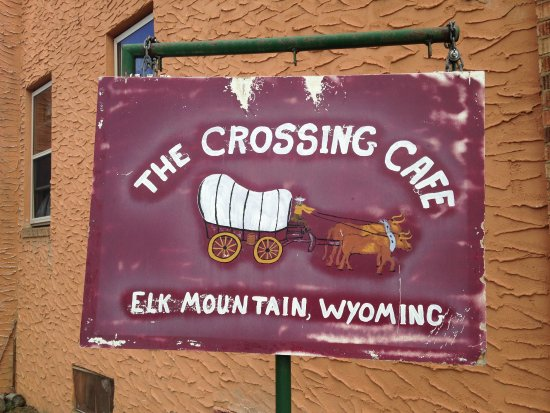 Elk Mountain, Wyoming: The weathered little sign outside...