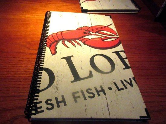 Menu, Red Lobster, Milpitas, CA