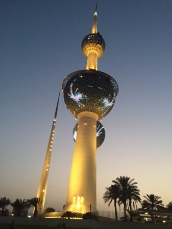 Kuwait Towers: dusk shot of the towers from outside