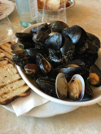 Caldonazzo, Италия: Spaghetti al nero di seppia e gamberi Polpo con patate e sedano Antipasto della casa Pepata di c