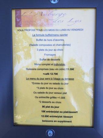 Val-d'Ize, ฝรั่งเศส: Menu