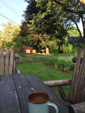 Clarkston, MI: enjoyed morning coffee at table near garden in back yard
